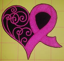 BREAST CANCER HEART AWARENESS MOTORCYCLE BIKER EMBROIDERED VEST PATCH IRON ON