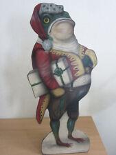 "2001 Barrett & Buller Boardwalk Studios 27"" Christmas Frog Santa Hand Painted"