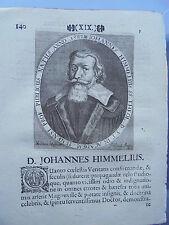 1673 Stich Theologe Johannes Himmel Stolpe Jena Gießen Speyer