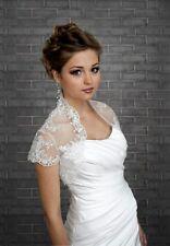 Elegante Brautjacke Satin Bolero Hochzeit WEISS IVORY 36,38,40,42,44,46 BKA-89