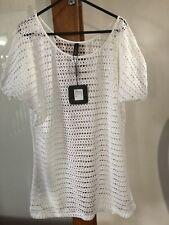 Women's Aqua Blu White Summer Beach Dress to wear over swimming costume ~ Size M
