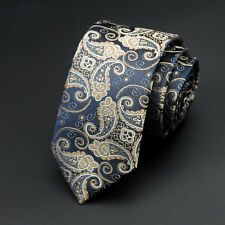 New Paisley Classic Trendy Slim Narrow Men's  Wedding Tie UK Seller Father Gift