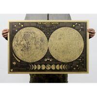 SELLER- Earth's Moon World Map kraft paper retro poster design your bedroom