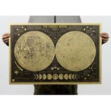 SELLER- Earth's Moon World Map kraft paper retro poster design your bedroom