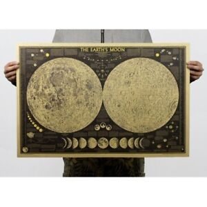 Vintage Paper Earth's Moon World Map Poster Wall Chart Home Bedroom Decors ~