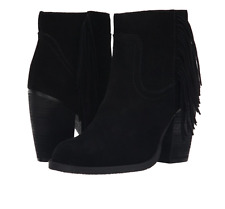 NIB Sbicca Marimba BLACK FRINGE Ankle Booties Boots Womens 6 M