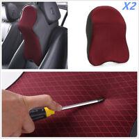 2Pcs Car Seat Headrest Pad Memory Foam Pillow Head Neck Rest Support Cushion Red