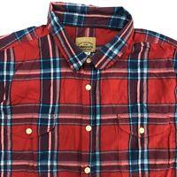 Roebuck & Co Button Up Shirt Mens 2XL Red Blue Short Sleeve Plaid Chest Pockets