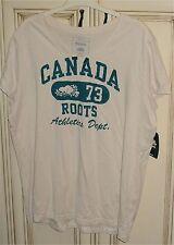 Women's XL V Neck T Shirt Canada 73 Roots Athletics Dept. Cream Birch White