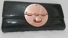 Mimco Leather Turnlock Clutch Purse Wallet BNWT Patent Black Rosegold No Defect