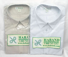 "Two Haband Short Sleeve 16"" Neck Dress Shirts New With Tags Light Blue & Tan"
