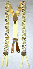 A5 Auth TRAFALGAR Five in Canoe Artwork Ivory Gold Tone Silk Suspenders