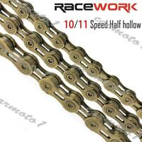 RACEWORK Bicycle Chain hollow 10/11 Speed Mountain Bike Road Hybrid 116L Gold