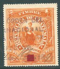 GUATEMALA 1895 used 1 peso Fiscal stamp