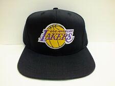 LOS ANGELES LAKERS NBA HAT SCRIPT BLACK FLAT BILL SNAPBACK CAP ONE NEW ADIDAS