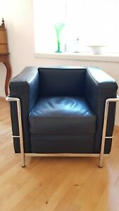 Sessel, le corbusier lc2 Bauhaus, schwarz, italienischer Hersteller