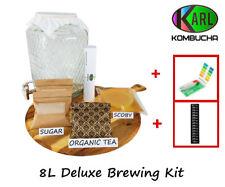 Deluxe Kombucha Tea Brewing Kit Organic Scoby 8L glass Dispenser ph/temp BPA FRE