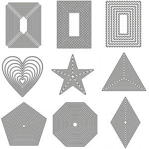 Nested Rectangle Heart Star Metal Cutting Dies DIY Scrapbook Embossing Stencils