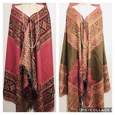 Reversible Indian 100% Wool Winter Woolen Wrap Shawl Scarf Stole Poncho Pashmina