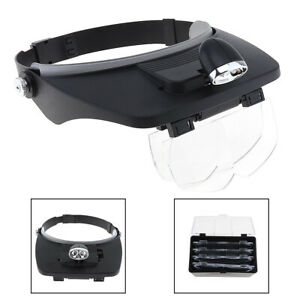 LED Headband Headset Head Lamp Light Jeweler 7X Magnifier Magnifying Glass Loupe