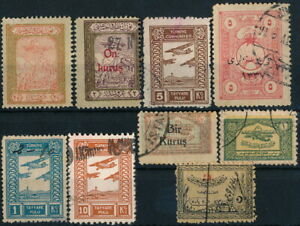 TURKEY, CLASSIC SCARCE LOT OF DIFF. AVIATION DEFENSE TAX STAMPS ISSUES. #Z910