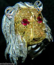 Anelli di lusso con gemme in oro bianco di pietra principale rubino diamante