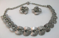 KARU ARKE INC SILVER TONE CHOKER & CLIPON EARRINGS W/TEARDROP JEWEL ACCENTS **