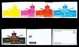 Niue 1977 $2 Queen Elizabeth II Crown Sword & Scepters Progressive Proofs 7v