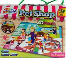 Set Of 2 Girls 45 Piece Jigsaw Puzzles - 3D Pet Shop And Beauty Salon Design
