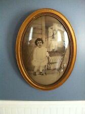 Vintage Convex Framed Portrait- Oval-Wood