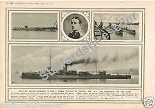 World War 1 Print 1914 British Submarine E9 German Warship Lt Com Max Horton