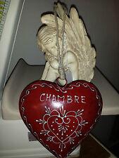 Plaque de porte coeur rouge «chambre»18*18 cm
