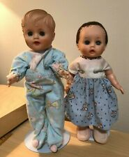 """Vintage Effanbee baby doll 10"""" & Uneeda 10"""" baby doll Soft Rubber Clothes/Stand"""