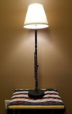 Artley Flute Lamp ♤ new electric parts, wood base & lampshade