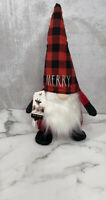 Rae Dunn CHRISTMAS HOLIDAY 2020 MERRY Plaid Red and Black Gnome NEW