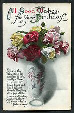 Posted C1917 All Good Wishes For Your Birthday: Roses in a Vase