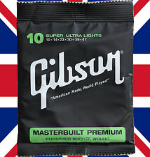 Acoustic Guitar Strings Gibson Masterbuilt Premium Super Ultra Lights 10-47