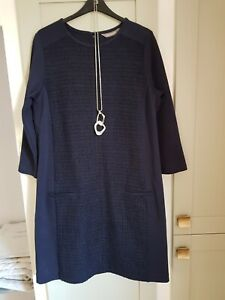 NAVY BLUE A Line DRESS Size 12 Sandwich Navy Blue Boucle Dress
