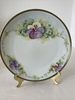 """Vintage THOMAS BAVARIA CHINA PLATE 7-1/2"""" Hand Painted PANSY FLOWERS Signed"""