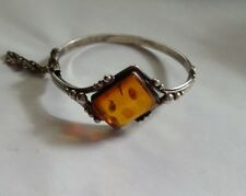 Vintage Sterling Silver Designer Signed Square Baltic Amber Bangle Bracelet