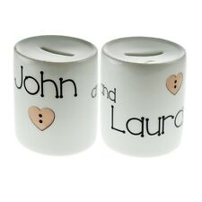 Personalised Button Hearts Design Money Box - XMBX003