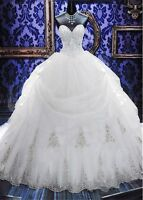 New Crystal Sweetheart Ball Gown Wedding Dress White Ivory Bridal Gown Custom