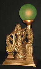 ANTIQUE ART NOUVEAU MANTLE/SHELF/TABLE LAMP w/CLOCK GREEN CRACKLE GLASS GLOBE
