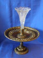ANCIEN CENTRE DE TABLE VASE CORNET CRISTAL BACCARAT COUPE A FRUIT EPERGNE BRONZE