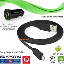 2.1A Charging Flat Noodle Micro USB Charger Sync Data Cable for Android Phone LG