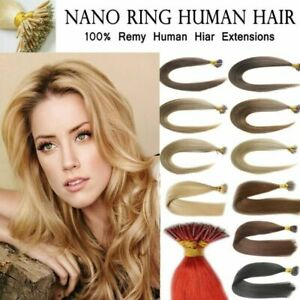 """7A 14""""-24"""" 1G Nano Rings Beads Double Drawn Russian Remy Human Hair Extensions"""