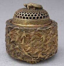 Chinoise Vintage Brass sculpté de nombreuses grues grande Encensoir