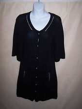 BCBG MaxAzria Black Sweater Dress sz M Button Down Cardigan EUC!