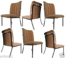 CHIC SET OF 6 BAUGHMAN CARDIN STYLE POLISHED CHROME UPHOLSTERED DINING CHAIRS