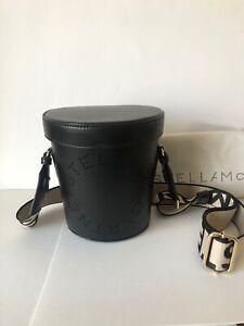 BRAND NEW Stella McCartney Logo Black Adjustable Bucket Shoulder Bag/ Crossbody